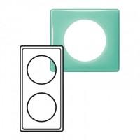 Plaque 2 postes Céliane 50's turquoise
