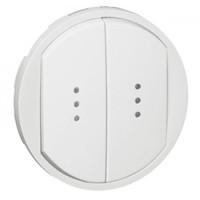 Enjoliveur double interrupteur à voyant - Blanc - 068004 - Legrand