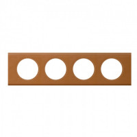 Plaque 4 postes Céliane Cuir Caramel