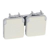 Prises 2x2P+T vertical précâblées Plexo composable blanc