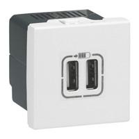 Prise chargeur USB 2 module - Blanc