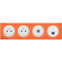 2 prises Surface + prise TV + RJ45 Céliane blanc - Plaque 70's orange