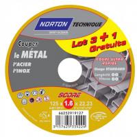 4 disques score 100 à tronçonner métal + inox diam. 125