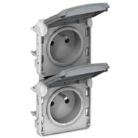 Prise double vertical Plexo composable - Gris