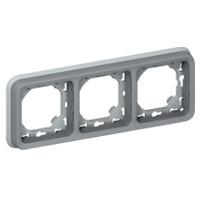 Support Plexo 3 postes horizontal - Gris