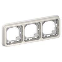 Support Plexo 3 postes horizontal - Blanc