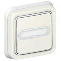Poussoir porte-étiquette lumineux Plexo complet encastré - Blanc