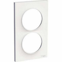 Plaque 2 postes entraxe 57mm Odace Styl - Blanche - Schneider - S520714