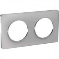 Plaque 2 postes Odace Touch - Aluminum - S530804 - Schneider