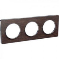 Plaque 3 postes Odace Touch - Wenge