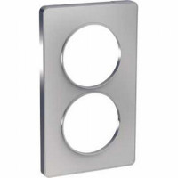 Plaque 2 postes entraxe 57mm Odace Touch - Alu