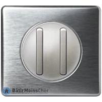 Double poussoir doigt étroit Céliane titane - Plaque aluminium