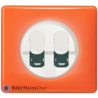 Double prise RJ45 STP cat. 6A grade 3 Céliane blanc - Plaque 70's orange