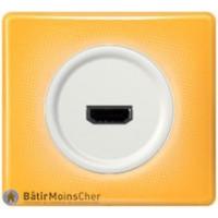 Prise HDMI Céliane blanc - Plaque Today jaune