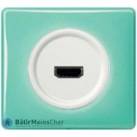 Prise HDMI Céliane blanc - Plaque 50's turquoise