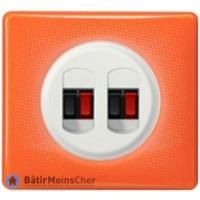 Double prise haut-parleur Céliane blanc - Plaque 70's orange