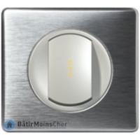 Poussoir à voyant lumineux Céliane titane - Plaque Aluminium