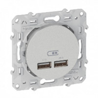 Prise chargeur Double USB Odace - Blanc