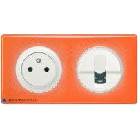 Prise Surface + RJ45 Céliane blanc - Plaque 70's orange