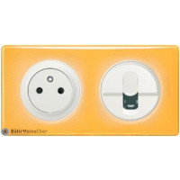 Prise Surface + Prise RJ45 Céliane blanc - Plaque Today jaune