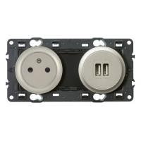 Prise de courant + chargeur USB Céliane titane