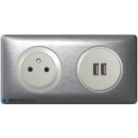 Prise Surface + double chargeur USB Céliane titane - Plaque Aluminium