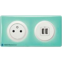 Prise de courant + chargeur USB Céliane blanc - Plaque 50's turquoise