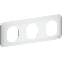 Plaque 3 postes horizontaux Ovalis - Blanc
