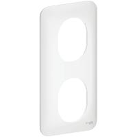 Plaque 2 postes verticaux Ovalis - Blanc