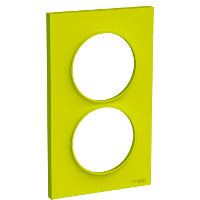 Plaque 2 postes Odace Styl entraxe 57mm - Vert chartreuse