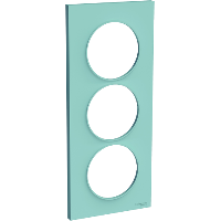 Plaque 3 postes Odace Styl entraxe 57mm - Cyan