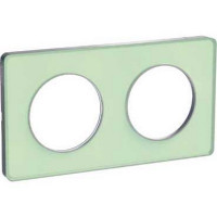 Plaque 2 postes Odace Touch - Translucide vert