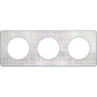 Plaque 3 postes Odace Touch - Aluminium brossé croco