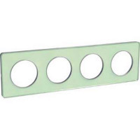 Plaque 4 postes Odace Touch - Translucide vert