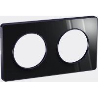 Plaque 2 postes Odace Touch - Aluminium brillant fumé