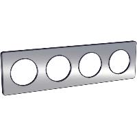 Plaque 4 postes Odace Touch - Aluminium brossé