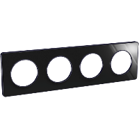 Plaque 4 postes Odace Touch - Aluminium brillant fumé