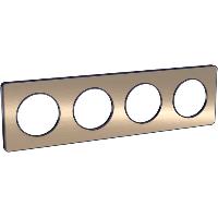 Plaque 4 postes Odace Touch - Bronze brossé