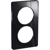 Plaque 2 postes Odace Touch entraxe 57mm - Aluminium brillant fumé
