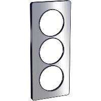 Plaque 3 postes Odace Touch entraxe 57mm - Aluminium brossé