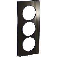 Plaque 3 postes Odace Touch entraxe 57mm - Aluminium brillant fumé