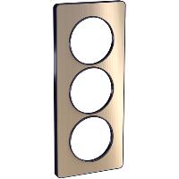 Plaque 3 postes Odace Touch entraxe 57mm - Bronze brossé
