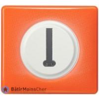 Prise de téléphone en T Céliane blanc - Plaque 70's orange