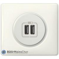 Prise double chargeur USB Céliane blanc - Plaque Yesterday