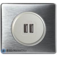 Prise double chargeur USB Céliane titane - Plaque Aluminium