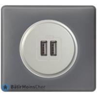 Prise double chargeur USB Céliane titane - Plaque Schiste