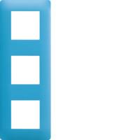 Plaque 3 postes Essensya bleu émail