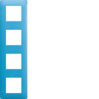 Plaque 4 postes Essensya bleu émail