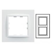 Plaque 2 postes verticale monochrome - Blanc névé