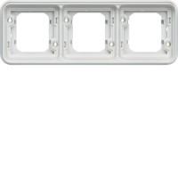 Support encastré 3 postes horizontal Cubyko blanc